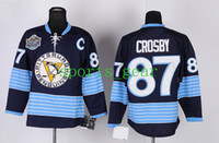 Ice Hockey Men Full Cheap Sidney Crosby Jerseys Penguins #87 Hockey Wear Dark Blue Winter Classic Stitched Men's Hockey Jerseys High Quality Athletic Apparel