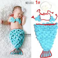Boy Summer Crochet Hats Free Ship 3pcs Infant Girl Newborn Baby Girl Knit Crochet Mermaid Headband+Top+Tail Photography Props Outfit Costume