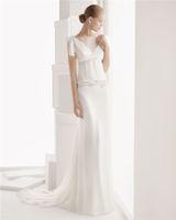 Sheath/Column Reference Images Bateau Flawless Beading Sheath Wedding Dresses Bateau Neckline Short Sleeves Chiffon Bridal Gown
