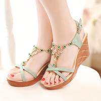 Women Wedge PU free shipping 2014 spring and summer ultra high heels sandals thin strap sexy nude color heels women's shoes open toe single shoes female
