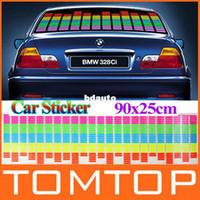 Carbon Fiber Vinyl Film Stickers 2 inch 90cm x 25cm Sound Music Activated EL Sheet Car Sticker Equalizer Glow Flash Panel led Multi Color Decorative Light Accessories