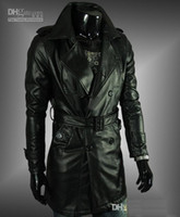 leather trench coat - Hot Sale Men water to wash skin trench coat leather long Leather coat gotheic Outwear men s coat black size M L XL XXL