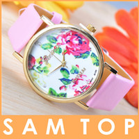 Wholesale New Fashion Hot Sell Leather Geneva Watches Rose Flower Watch For Women Ladies Dress Watch Quartz Watches