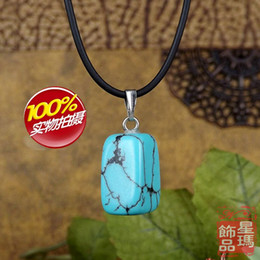 NEW FINE Popular chain stone necklace pendant blue turquoise shape .