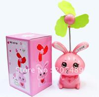 Wholesale retail Mini Portable Soundless USB battery Cooling Fan with lamp cartoon mini love rabbit fan multi colors