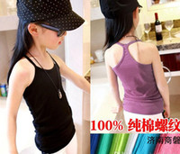 Wholesale Fashion New Summer Children Tank Tops Tshirt Pure Cotton Rib Candy Color Joker Girl Vest Undershirt Kids Boy Girl Vest Topwear