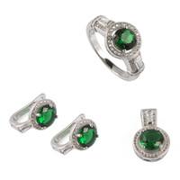 Wholesale Fashion set sz6 Peridot Cubic Zirconia silver trendy Micro inlays jewelry heart set ring earring pendant