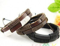 Wholesale Hot Sale Brand New Mix Order Double Genuine Handmade Leather Bracelets men s Factory Price Stock