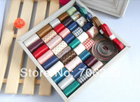 wholesale lace ribbon - High quality M mixed stain grosgrain cotton lace ribbon Diy hairbows combination ribbon setFor DIY