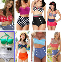 plus size dropship - New Dropship Dot Retro Sexy Print Bikinis Set Vintage High Waist Bikini Swimsuit Ladies Swimwear Bathing Suits For Women