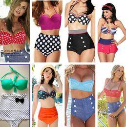 Wholesale New Dropship Dot Retro Sexy Print Bikinis Set Vintage High Waist Bikini Swimsuit Ladies Swimwear Bathing Suits For Women