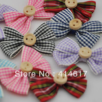 Wholesale A tartan plaid Gingham Ribbon Bows Flower Appliques Upick A067 cheapest