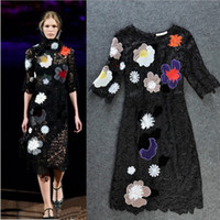 Wholesale New Arrival Women s O Neck Sleeves Embroidery Lace Floral Fashion Runway Dresses