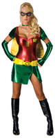 TV & Movie Costumes adult robin costume - Adult Female Robin Party Outfit Fancy Dress Costume Superhero Sexy Ladies Womens Halloween Batman Costumes Outfit