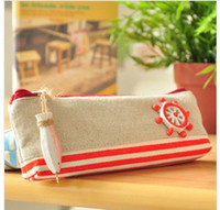 Fabric   Korean cute pencil bags fish decoration striped zipper canvas pencil case bags school supplies girls cosmetic bags stationery bag lhw001