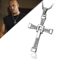 Wholesale Hot Sale New Arrived Men s Necklace Jewelry The Fast and the Furious Items K platinum Plated Crystal Jesus Cross Pendant Necklaces
