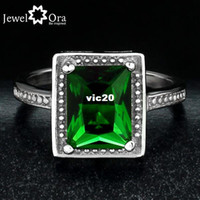 Band Rings Engagement Fashion Vintage Green CZ Ring Fashion Emerald Rings Daily Casual 2014 Jewelry Silver Green CZ Lady Ring (JewelOra Ri100989)