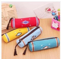 Wholesale New Indian wind cute cylinder pencil bags zipper canvas pencil case bags school supplies stationery bag lhw001