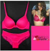 Wholesale 2014 summer new year outfit hot seller Victoria underclothes bra sets women brassiere ladies lace panties hot pink colors
