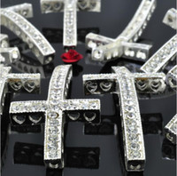 Wholesale cm PC Hot Fashion Silver Rhinestone Sideways Cross Bracelet Connectors Jewelry Findings