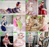 Wholesale Baby lace romper with shoulder ribbon straps girls Petti Bubble Rompers Bow wear Jumpsuit gifts