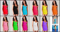 Women Swimdress Pure Colour Deep V-neck sun crossing beach dress clothes skirt Bikini skirt Wrap Dress sarong cover-ups Criss Swimwear 10 pcs bathing suit