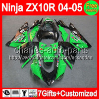 7gifts+ Body For KAWASAKI Ninja Green black ZX10R 04- 05 C#L15...