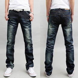 Wholesale New high quality men brand hot summer solid thin jeans blue cotton denim famous slim clothing
