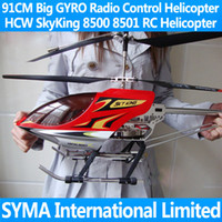 Electric 2 Channel 1:4 Free Shipping 91CM Big Large 3.5CH Radio Electric Remote Control RC Helicopter Metal Gyro with LED Sky King HCW 8501 8500 Toy