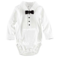 Girl Spring / Autumn Baby 3pcs lot,2013 summer baby boys gentleman short romper with bow tie One-piece clothes jumpsuits kids gentleman cotton rompers