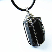 Beaded Necklaces   Black tourmaline ore pendant natural crystal black tourmaline nunatak energy pendant