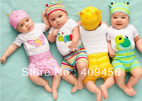 Unisex Spring / Autumn Short Free shipping 2013 new arrival Baby Clothing Set Hat+Romper+Pants 3 pcs Clothes Set Children Summer Wear Kids lovely 4 Designs