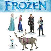 Wholesale set Movie Frozen Anna Elsa Hans Kristoff Sven Olaf PVC Action Figures Dolls Classic Toys Cake Topper
