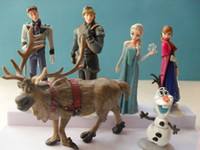 Wholesale New Arrival pieces Set Frozen Anna Elsa Hans Kristoff Sven Olaf PVC Action Figures Toys Classic Toys dolls Cartoon Anime Movies Cake Topper
