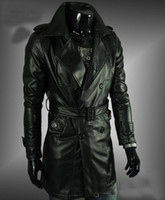 leather trench coat - Hot selling Men s High quality water to wash skin trench coat leather long Leather coat gotheic Outwear men s coat black size M L XL XXL