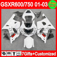 7gifts For SUZUKI ALL White GSXR 600 750 01- 03 GSXR600 GSXR7...
