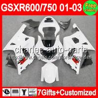 7gifts For SUZUKI ALL White GSXR 600 750 01- 03 GSXR600 GSXR7...