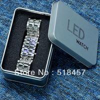 Women's Rectangle 7.87 Elegant Blue LED Light Women Girls Stainless Steel Band Wrist Watches + Gift Metal Box New
