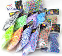 Link, Chain DIY Children's Hot New Rainbow Loom Parts Rainbow Polka Dot Rubber Band Bracelets 600Pcs Bands +24 Pcs S FREE SHIPPING