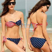 Women Bikinis Print ON SALE! Swimsuit Swimwear Women Sexy Bikini Stars Stripes USA Flag Padded Twisted Bandeau Swim Suit Tube Swim Wear SV000467
