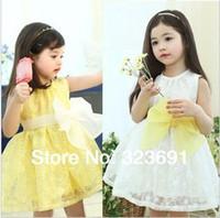 TuTu Summer Beach Retail girl birthday dress 2014 children dress girls dress Princess dress Big bowknot dress for summer