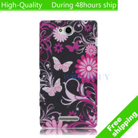For Sony Ericsson Metal Yes High Quality Flowers Butterfly Pattern TPU Cover Case For Sony Xperia C C2305 S39h Free Shipping UPS DHL EMS CPAM HKPAM DE-15