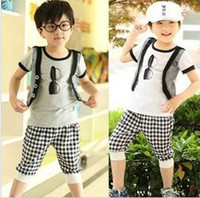 Boy Spring / Autumn Short 2013 Children's clothing boys set child boys summer clothes set child handsome faux two piece t-shirt vest plaid school clothes