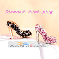 Wholesale diamond sexy high heel phone accessories anti dust Jack plug headset stopper cap for samsung galaxy s4 note2