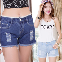 Jeans Women Bootcut Ladies 2014 Summer Frayed Ripped Lace Hem Denim Shorts Patchwork Jeans Short s Plus Size 26-34 Freeshipping #B44508