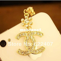 Wholesale 2014 new arrival fashion brand Moblie Phone Parts mm Crystal Angle Cell Phone Dust Plug Earphone Jack Plug for cell phone