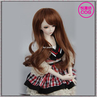 Wholesale 3 point point point Brown Culy Medium Long Bjd Doll Hair Wig Toy Hair