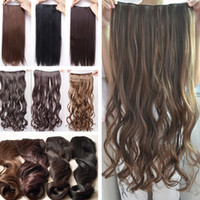 Wholesale New Fashion Clip in Long Curly Synthetic Hair Pieces Hair Extension Black Deep Brown Dark brown Color