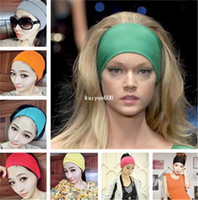 Wholesale 10 New Fashion inch Women Colored Wide Yoga Headband Stretch Hairband Elastic Hair Bands Turban