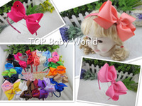 Wholesale Hot selling High Quality inch Grosgrain Ribbon Hair Bow with satin girls hairband for kids children hair accessories